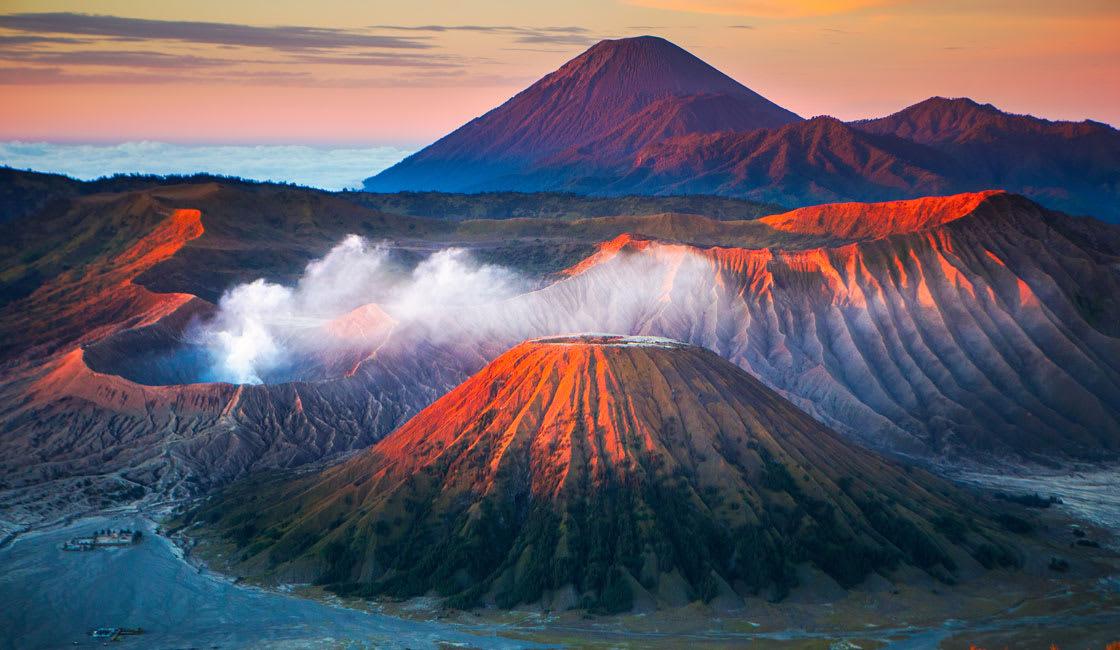 Gigantic caldera flanked several other volcanoes at Mount Bromo