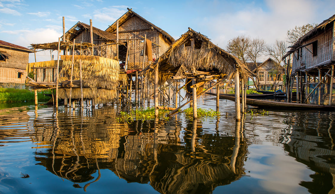 floating houses in Inle lake in Myanmar