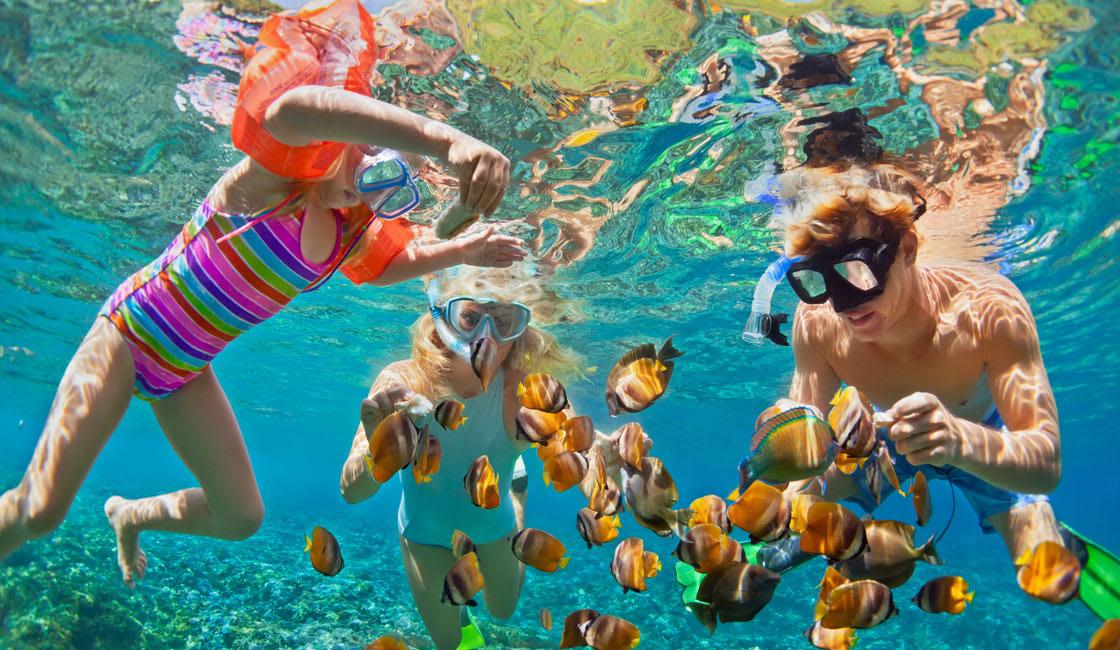 kids having fun while diving