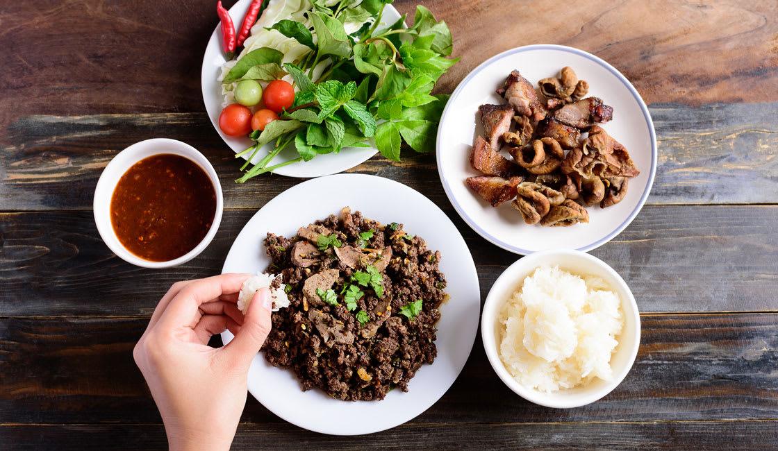 Asian-Food-Larb-Sticky-Rice