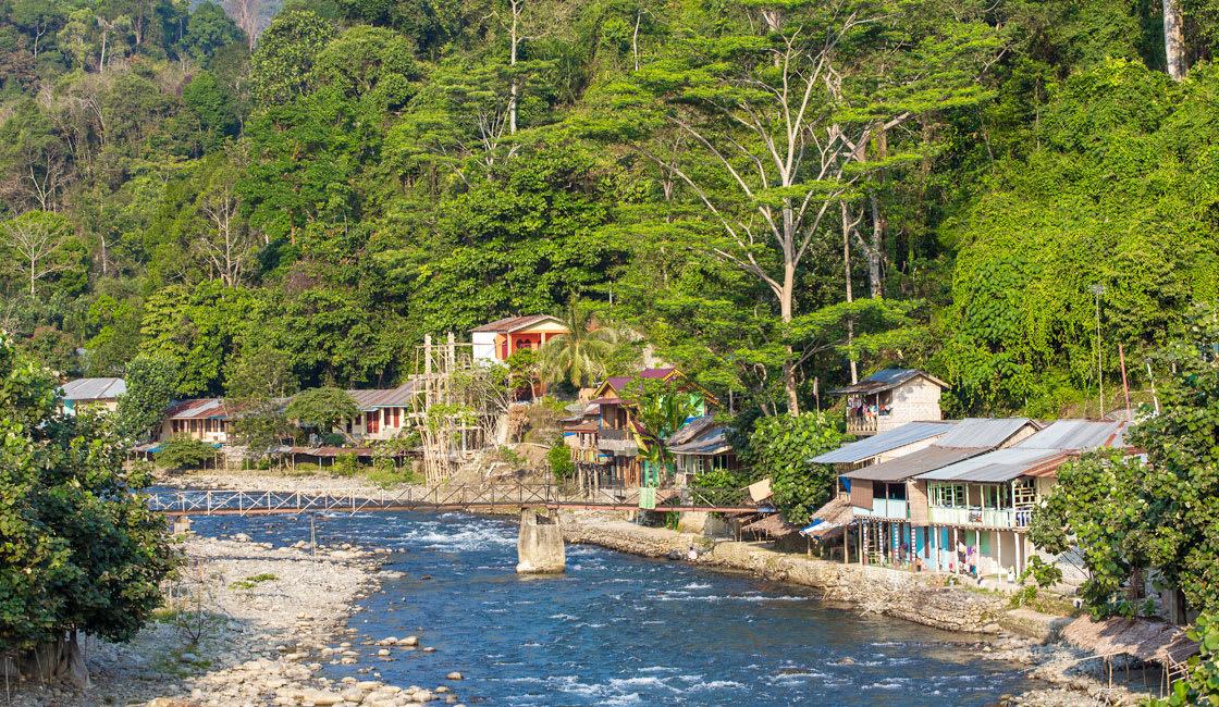 bukit lawang town near at the river shore