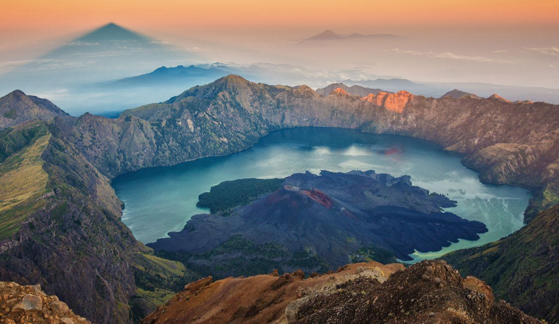 volcano and lake