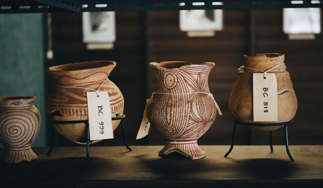Ancient pottery artefacts in the museum