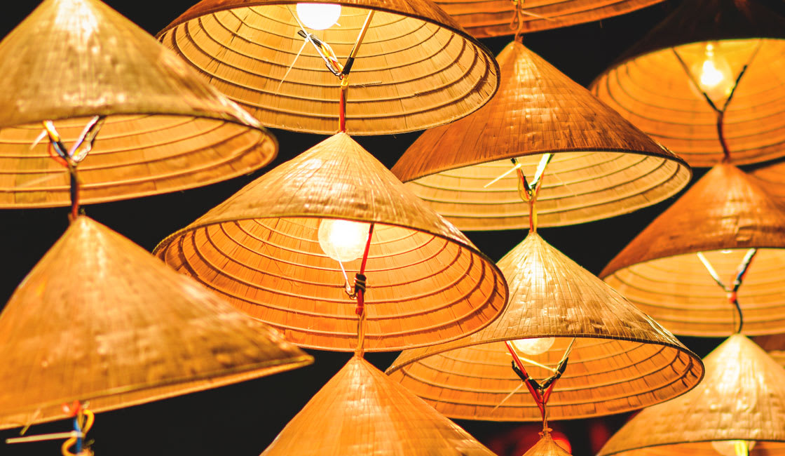 Lamps made from conical hats