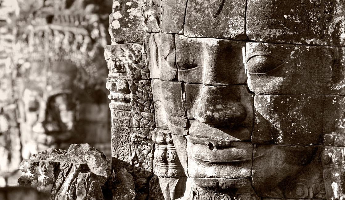 Closeup of Bayon Buddha face