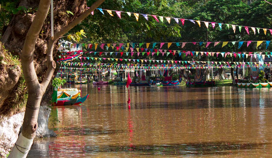 Colorful decorations over the river