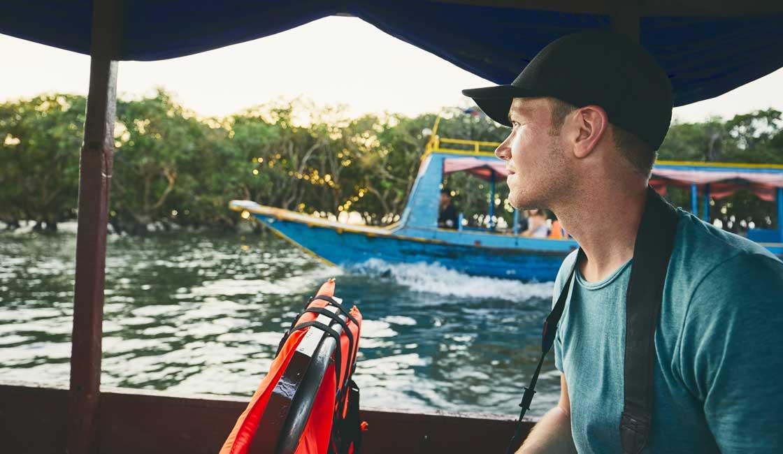 Tourist in a boat in Cambodia