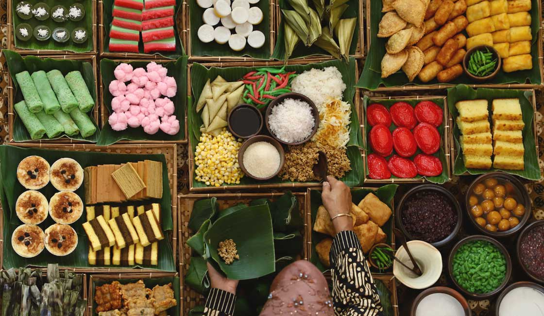 From above a stall with sweets in Indonesia