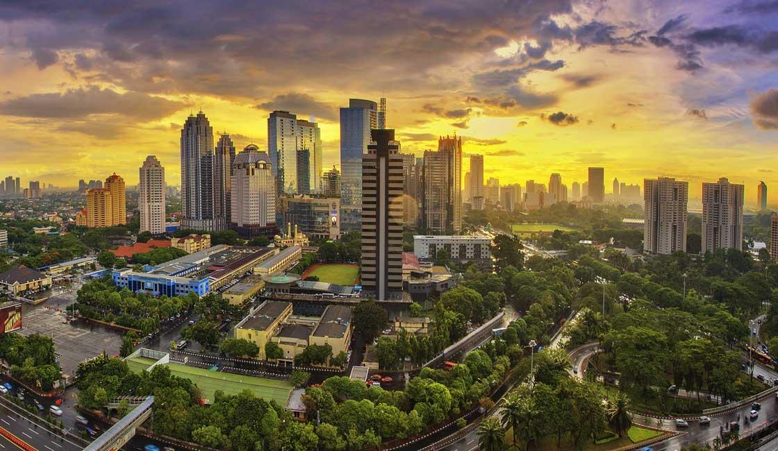 Jakarta city scape at dusk