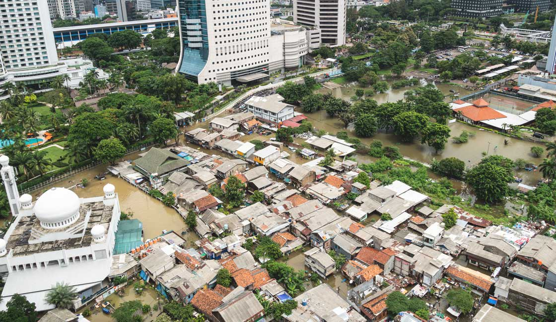 Flooding of poor areas in Jakarta