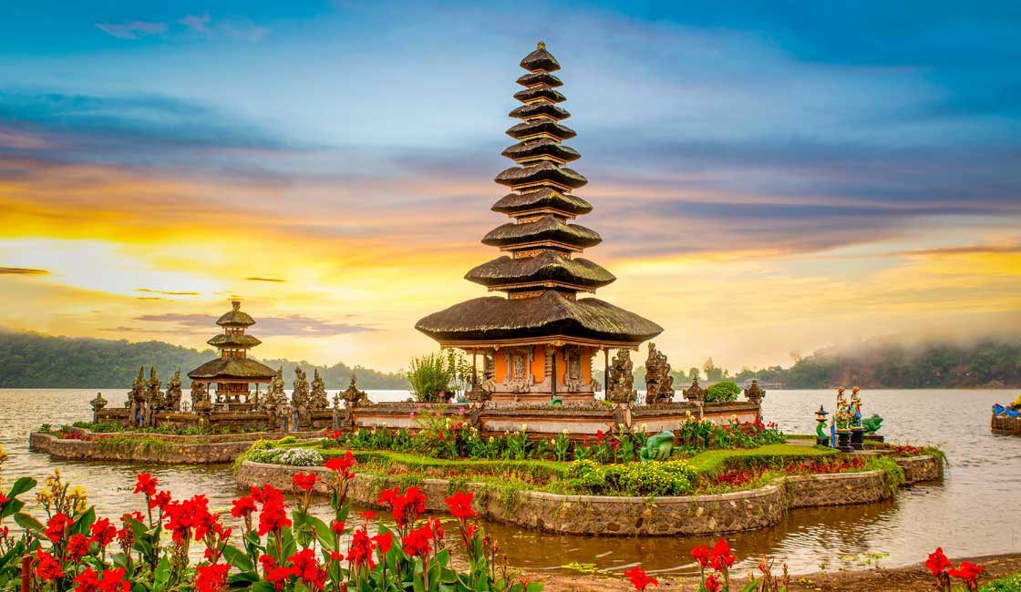 Beautiful temple on the water