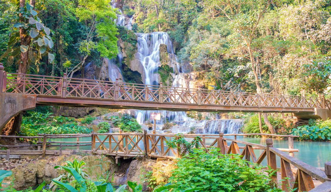 Waterfalls and bridge over the river