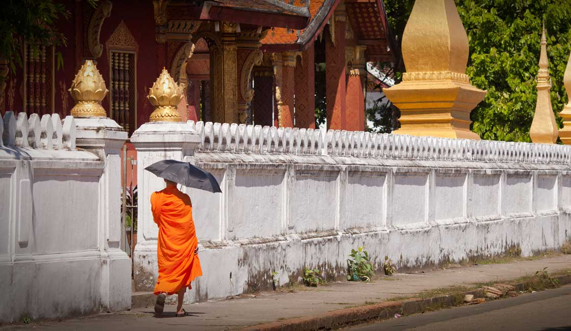A lonely monk in Luang Prabang
