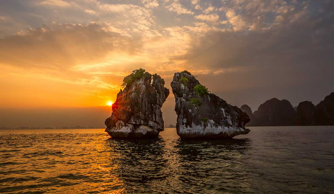 Karst formations in the sunset