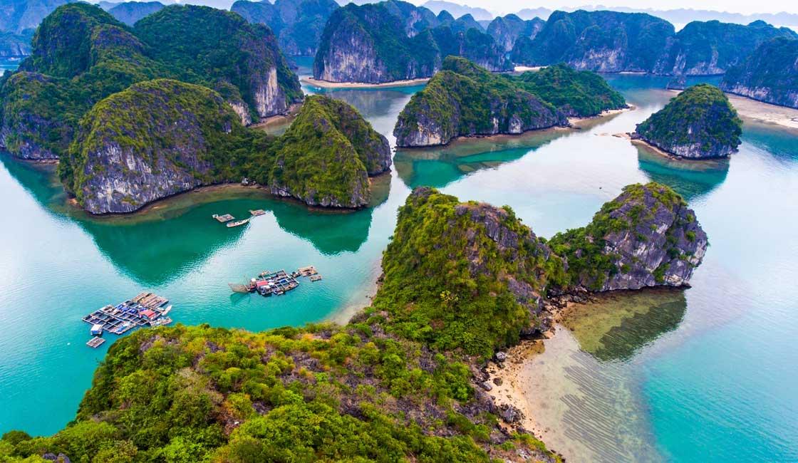 Green covered karst formations of Lan Ha Bay
