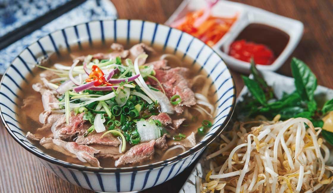 Noodle soup in a bowl