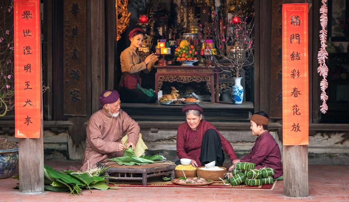 Vietnamese family celebrating