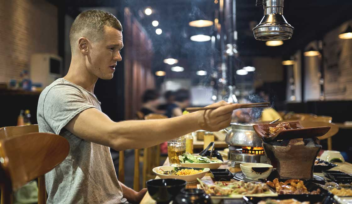 A man having a meal in Vietnam