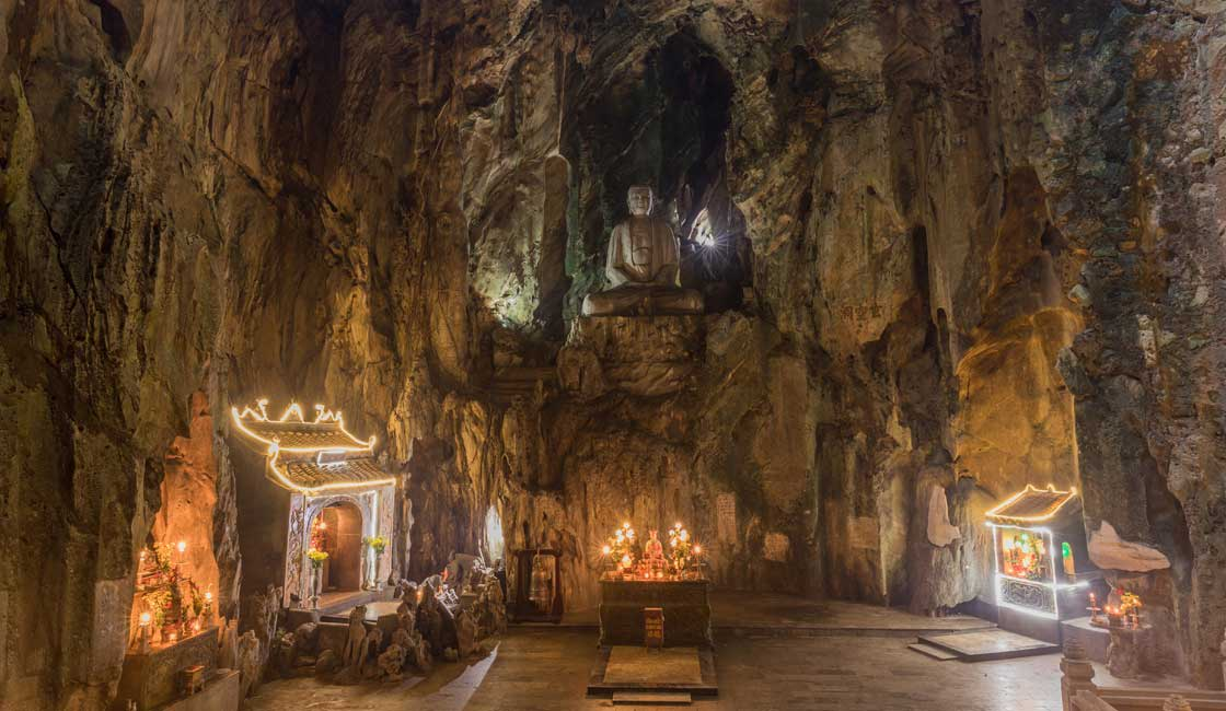 Huge cave with shrines inside