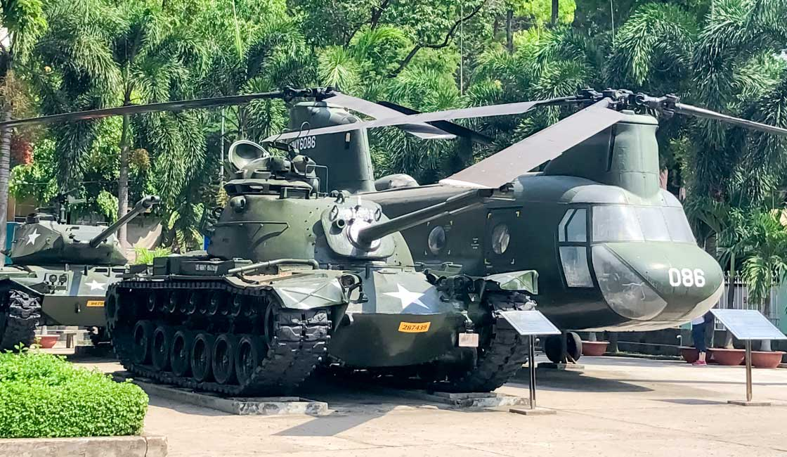 Tank and a helicopter