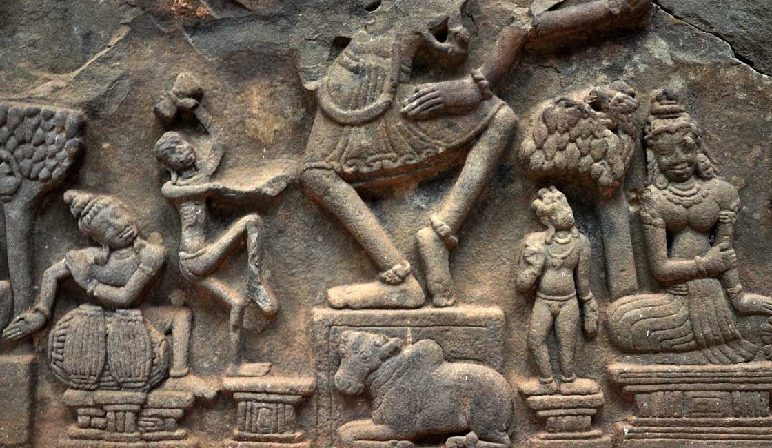 Sandstone relief with Shiva in the middle