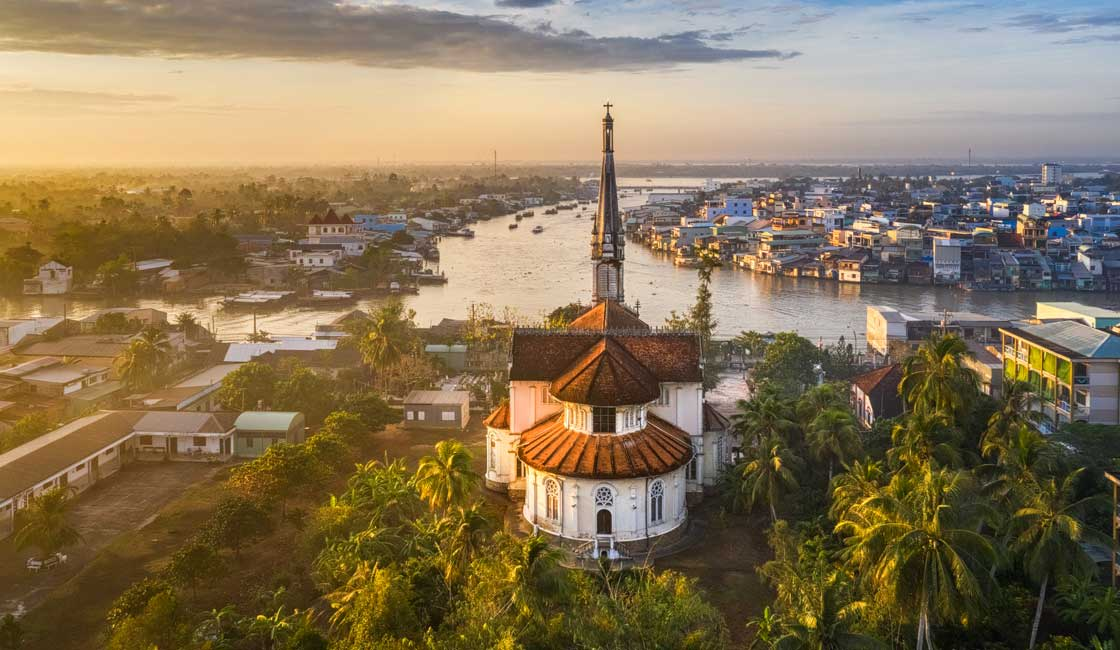 Small town in Mekong Delta