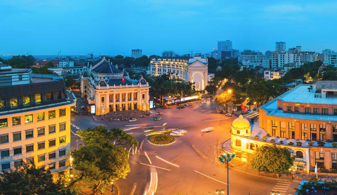 Hanoi center in the evening