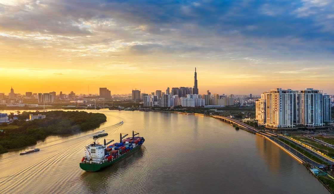 Saigon river with city panorama