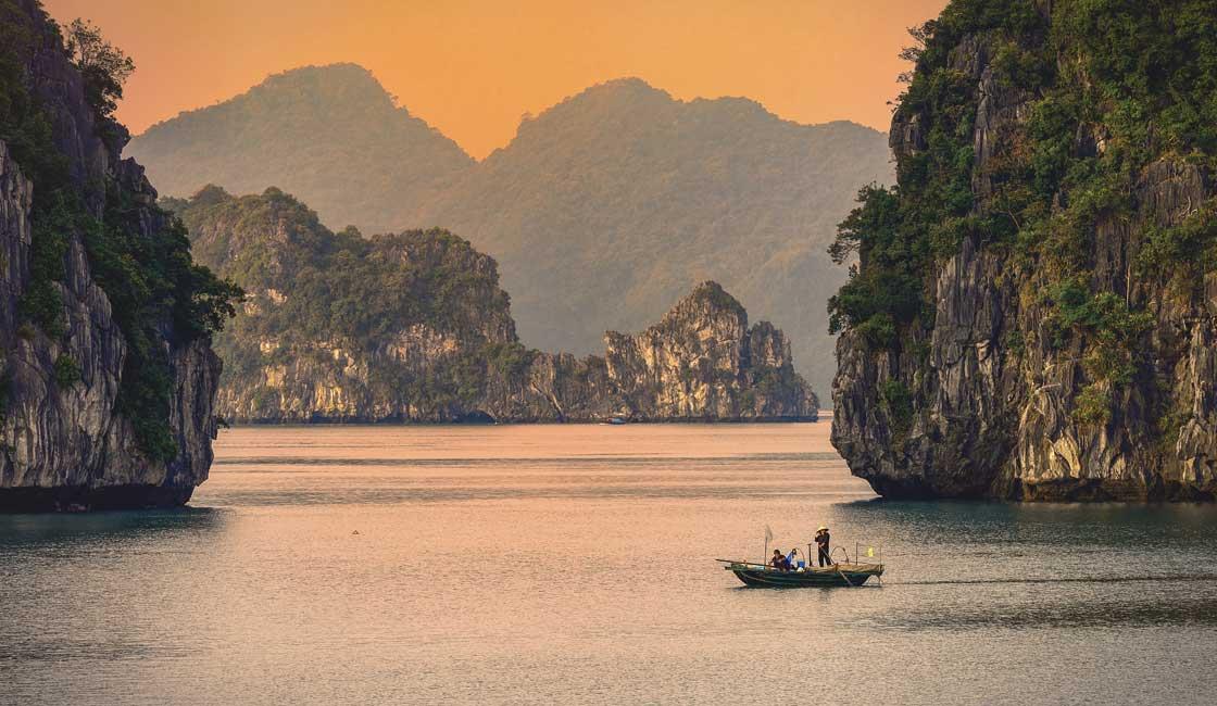 Halong Bay at dusk
