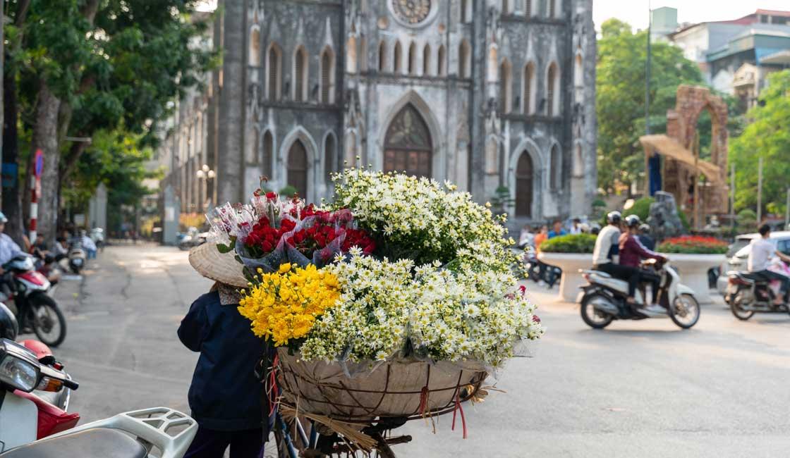 Street flower vendor