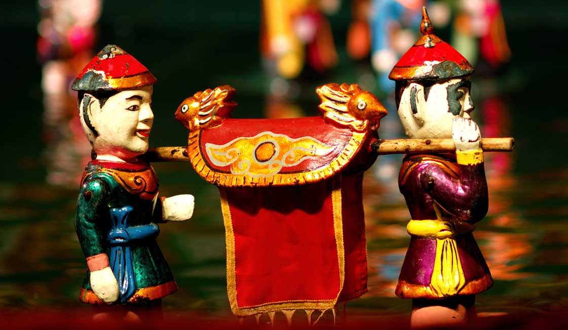 Colorful water puppets
