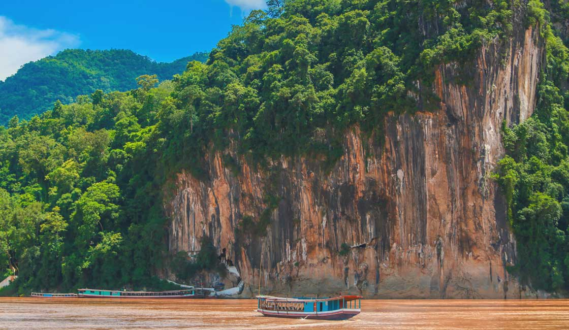 Boat outside the cave