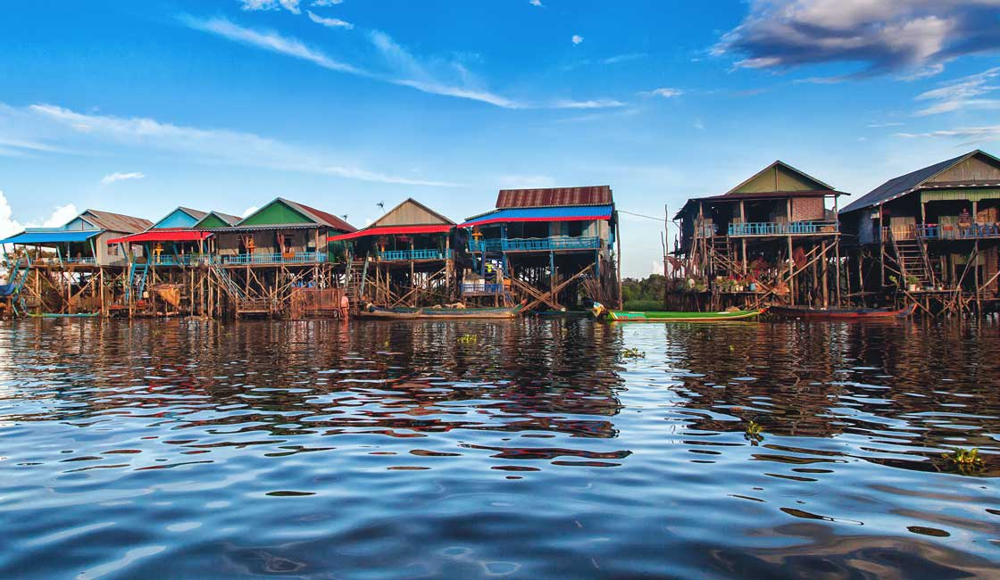 Stilted houses on the lake