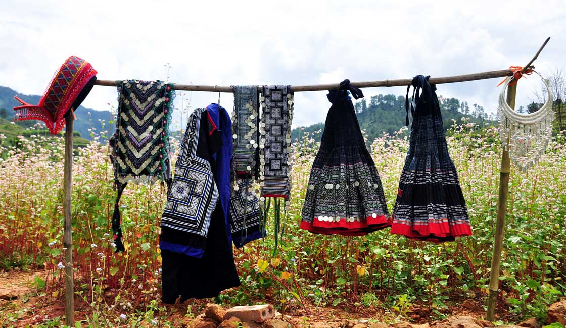 Ethnic clothes drying on a pole