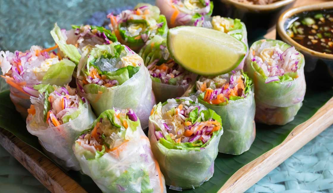 Fresh spring rolls on the plate