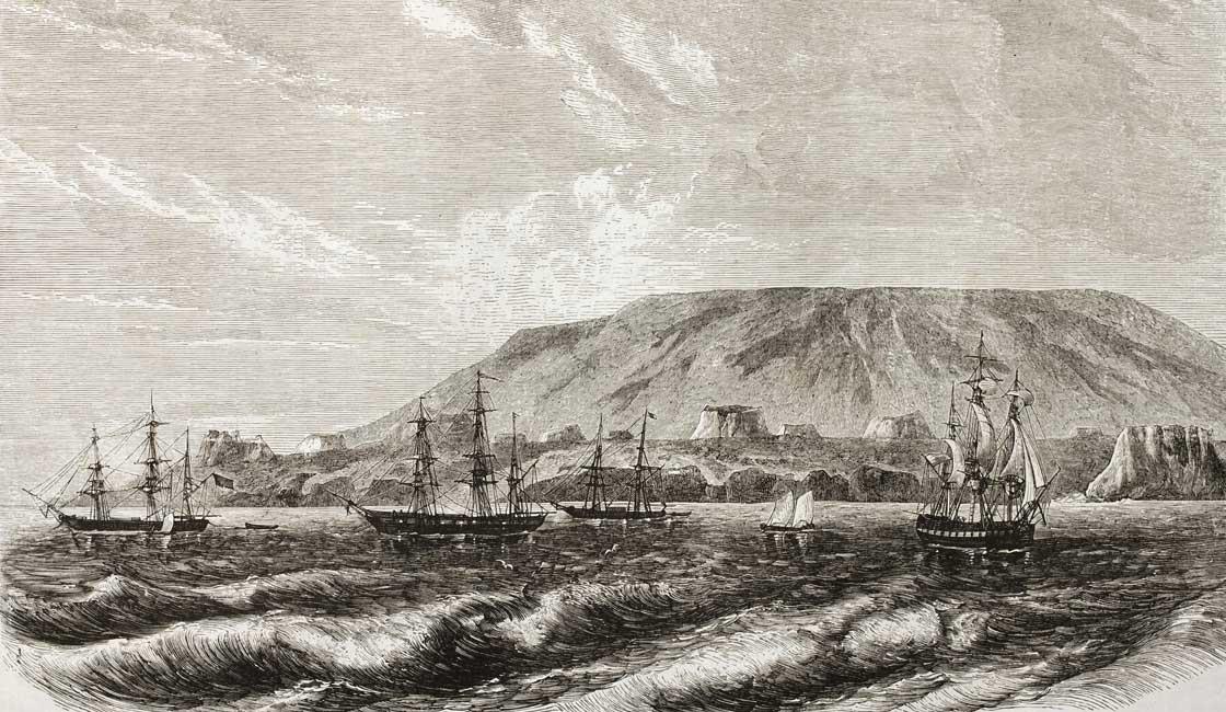 Graphic of a ship by De Berard