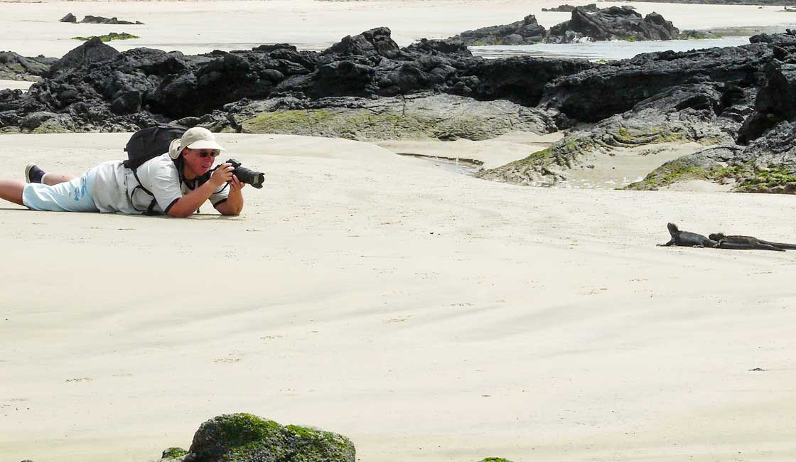 Photographer lying down for a photo