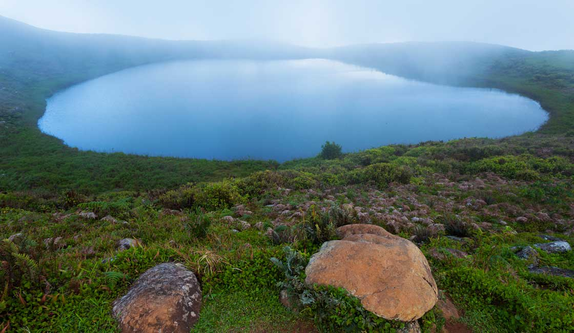 A lake in the mist