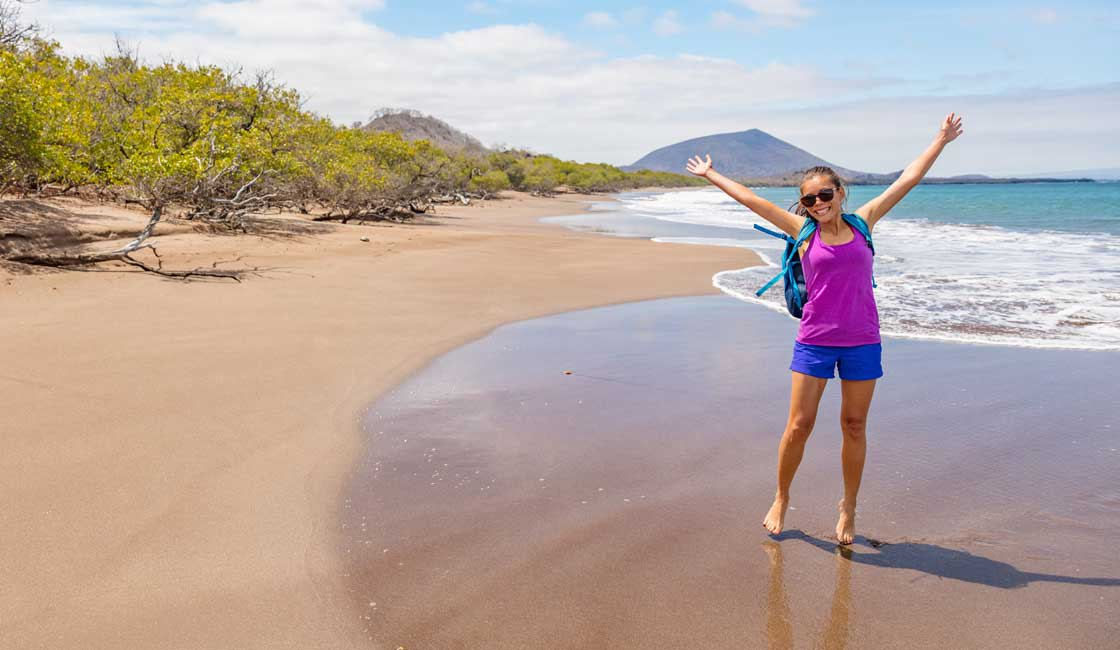 Young woman on the beach in Galapagos