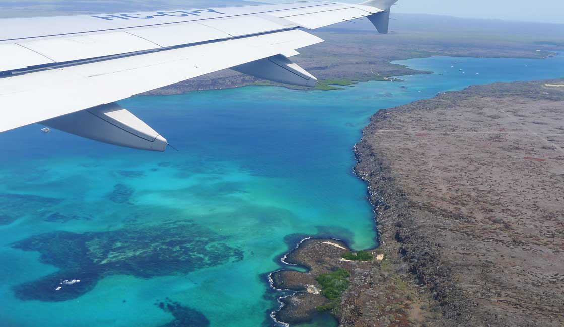Plane over Galapagos Islands