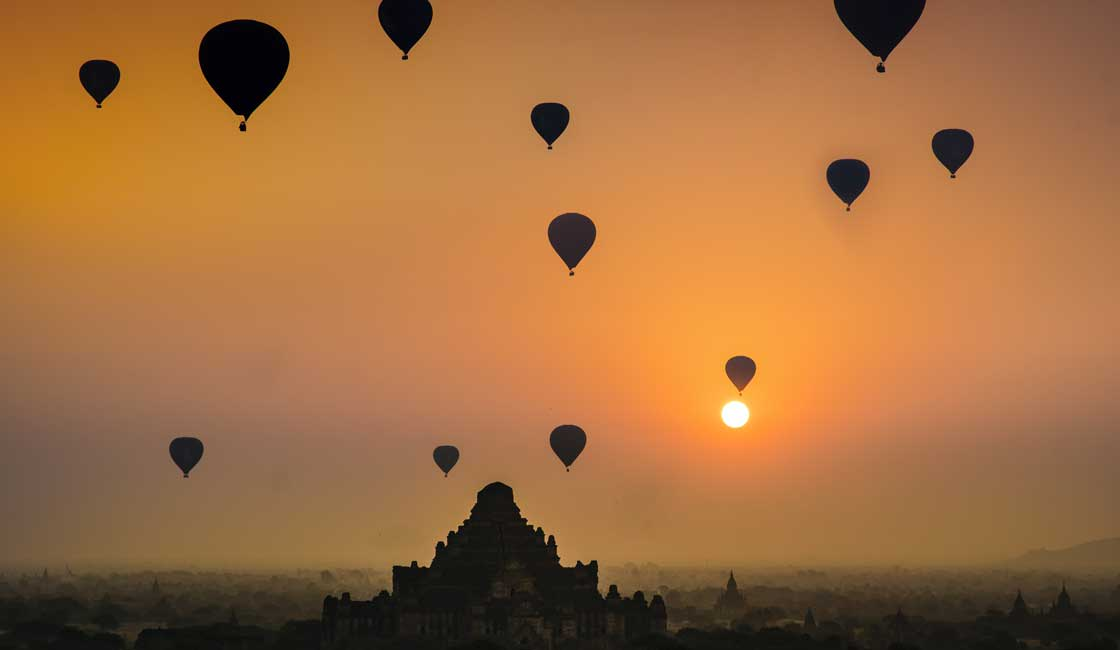 Balloons over a temple in Myanmar