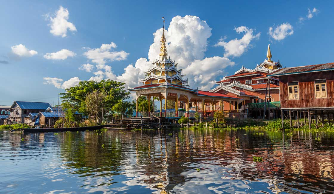 Temple on the water of Inle Lake