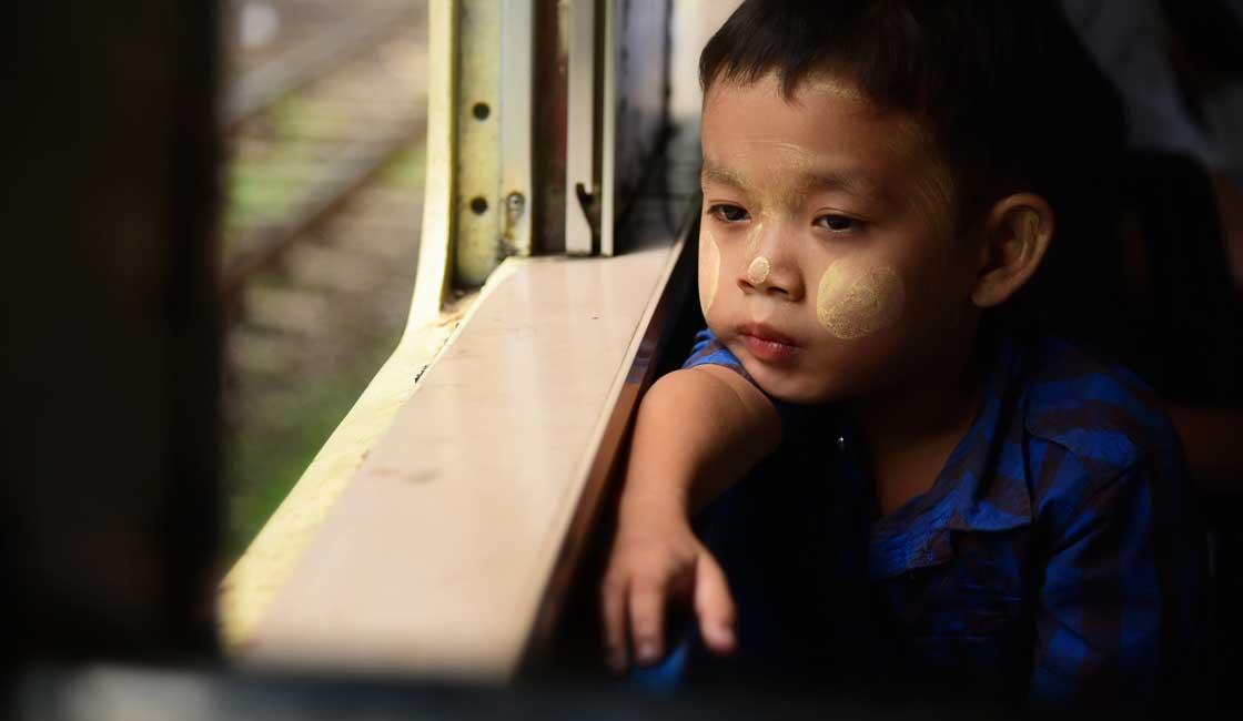 Boy in a train