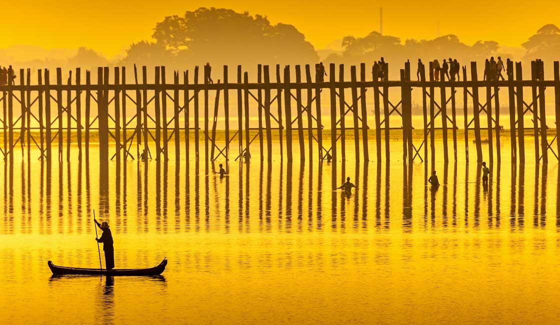 Bridge on tall stilts in sunset light