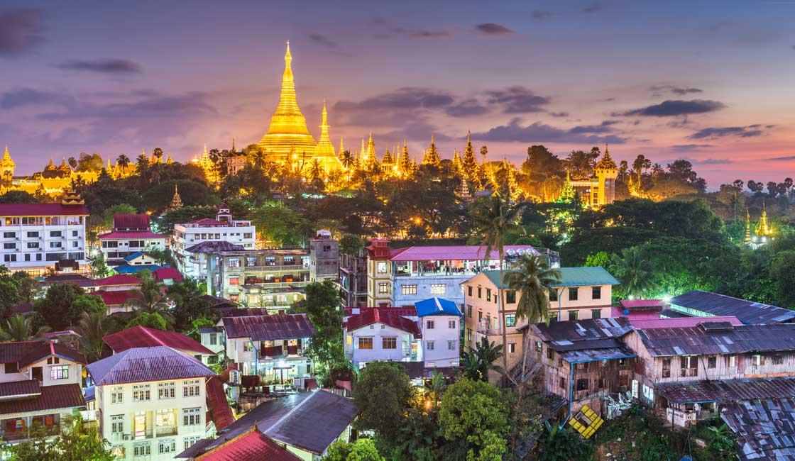 Shwedagon pagoda in a distance