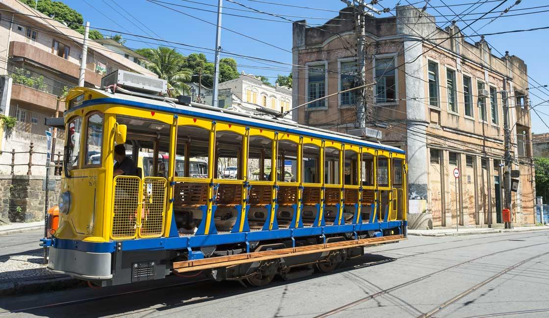 Yellow tram in the Rio street