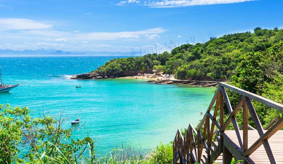 Wooden walkway to the beautiful beach of Buzios