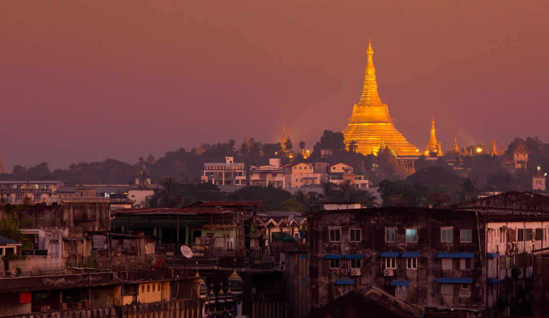 Shwadagon pagoda in the distance