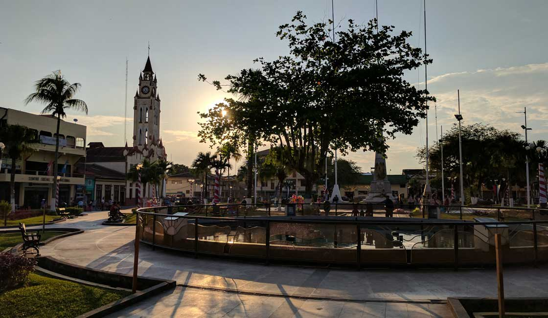 Town's square at sunset