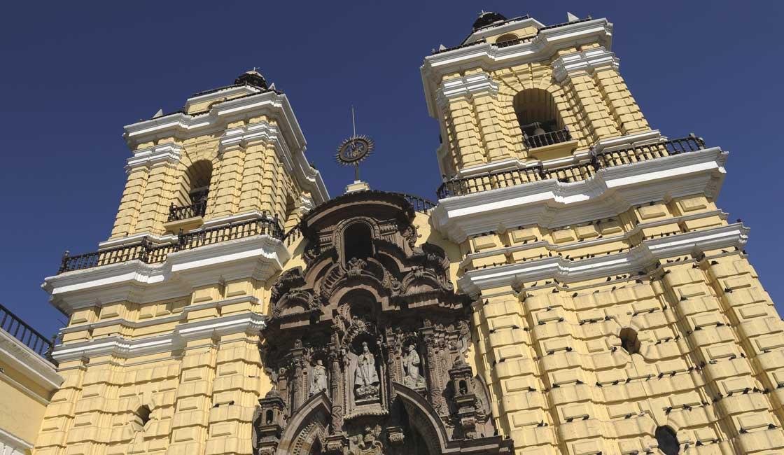 Yellow facade of a church